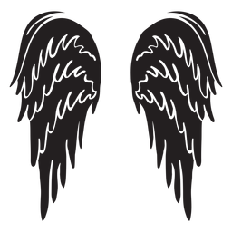 Asas de anjo clássicas cortadas em preto