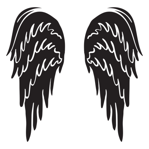 Alas de ángel clásicas cortadas en negro Transparent PNG