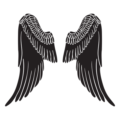 Classic elegant angel wings cut out black Transparent PNG
