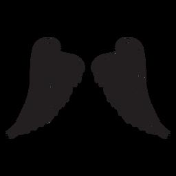 Asas de anjo em camadas clássicas cortadas em preto