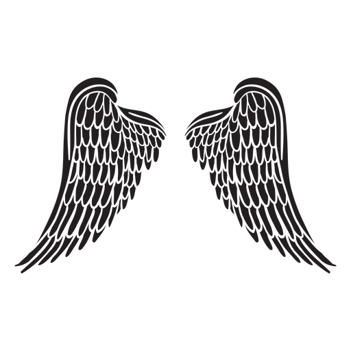 Classic layered angel wings cut out black