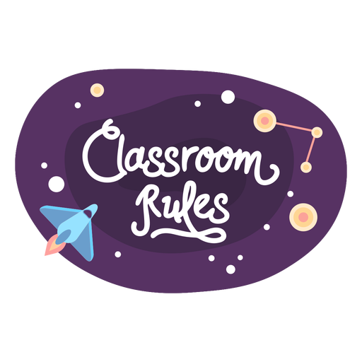 Classroom rules space sticker icon
