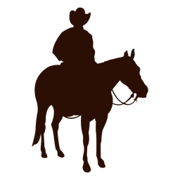 Cowboy horse riding three quarter silhouette
