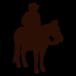 Cowboy horse riding three quarter silhouette