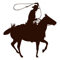 Cowboy zu Pferd Lassoschattenbild