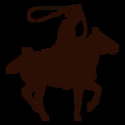 Silhueta de laço de cavalo de cowboy
