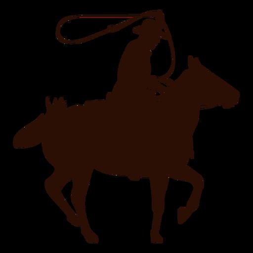 Silueta de lazo a caballo vaquero