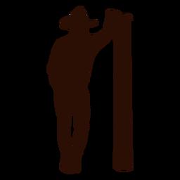 Vaquero, inclinado, poste, silueta