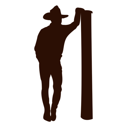 Cowboy leaning post silhouette Transparent PNG