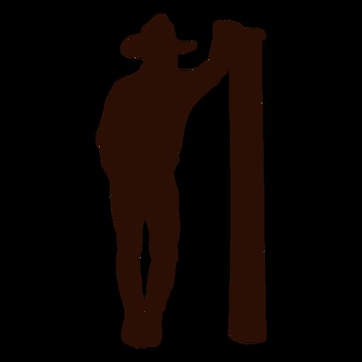 Vaquero inclinado poste silueta