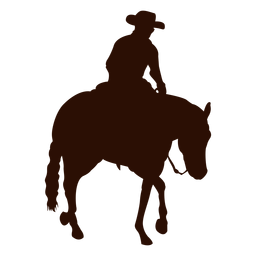 Cowboy riding horse profile silhouette