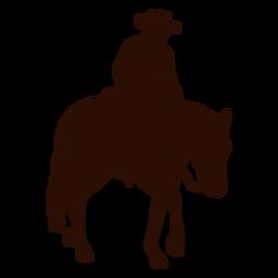 Silueta de perfil de caballo a caballo vaquero