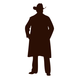 Cowboy standing hands in pockets silhouette
