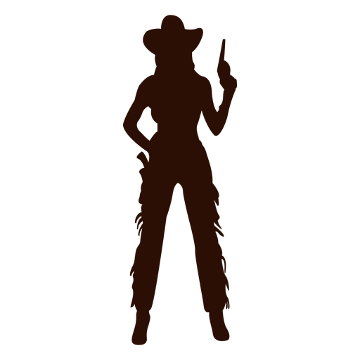 Cowgirl pistol ready silhouette Transparent PNG