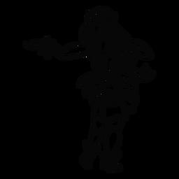 Tanzende hawaiische Frau bewaffnet heraus Entwurf