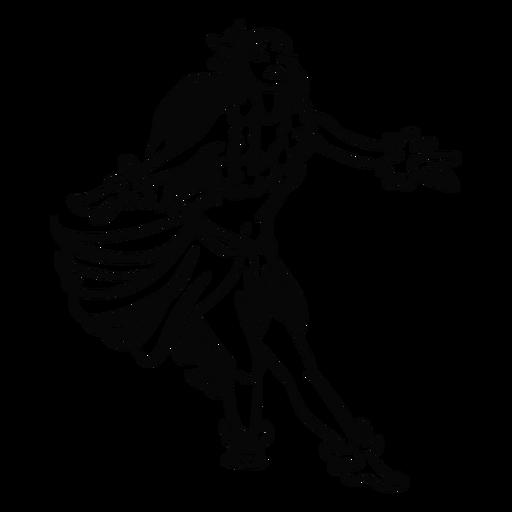 Bailando mujer hawaiana brazos extendidos contorno Transparent PNG