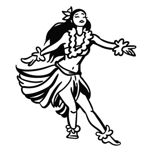 Dancing hawaiian woman arms spread outline Transparent PNG