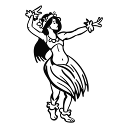 Dancing hawaiian woman arms up outline