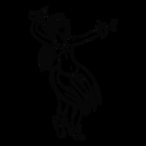 Dancing hawaiian woman arms up outline Transparent PNG