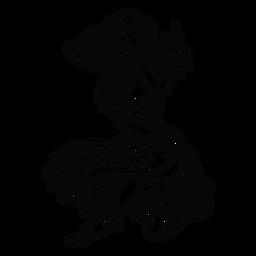 Bailando mujer hawaiana arrodillarse contorno