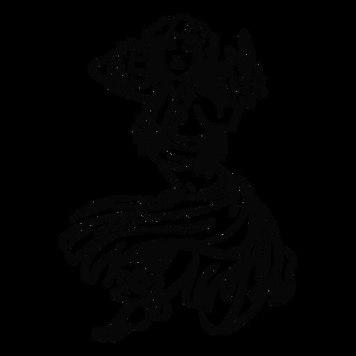 Bailando mujer hawaiana arrodillarse contorno Transparent PNG