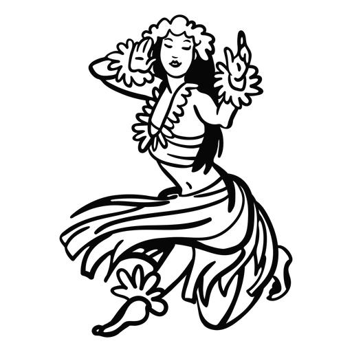 Dancing hawaiian woman kneel outline Transparent PNG