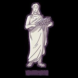Demeter dibujado a mano gris