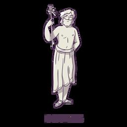 Dionysos dibujado a mano gris