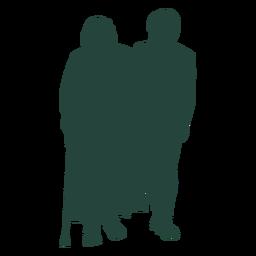Adulto idoso caminhando lado a lado com a silhueta