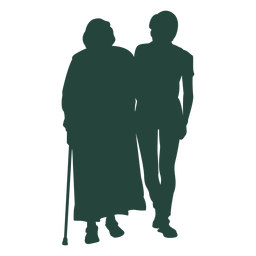 Elder adult walking side by side silhouette