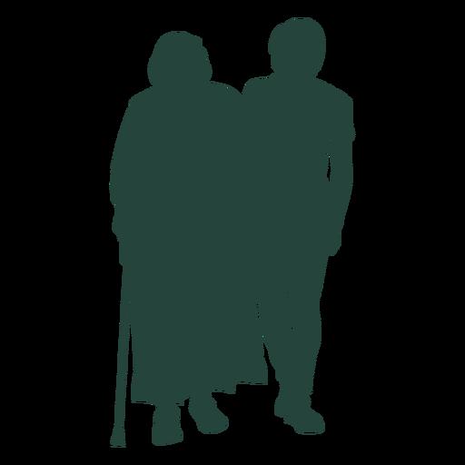 Elder adult walking side by side silhouette