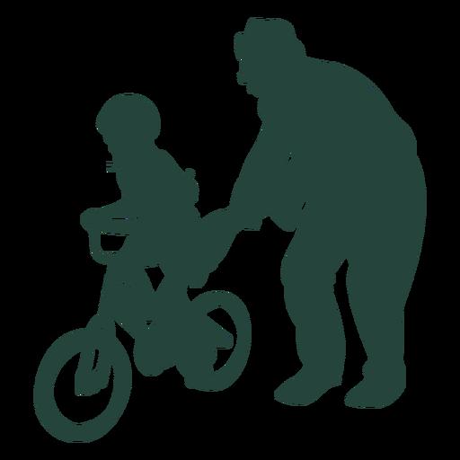 Elder kid learn biking senior
