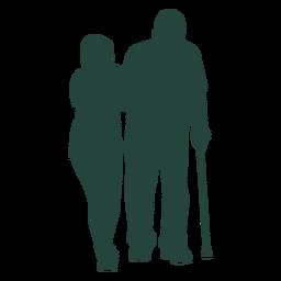 Enfermeira idosa andando silhueta cana