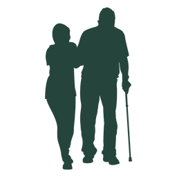 Enfermera anciana caminando silueta de bastón
