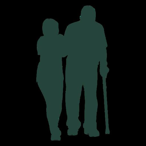 Elderly nurse walking cane silhouette