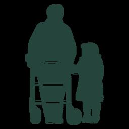 Elderr walker criança andando silhueta