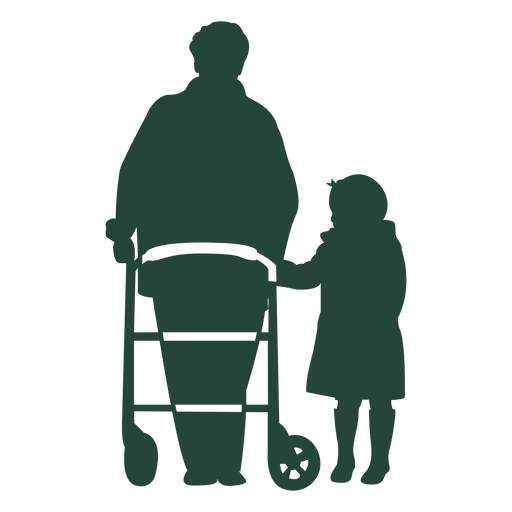 Elderr walker criança andando em silhueta Transparent PNG