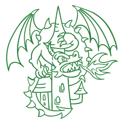 Evil dragon attacking castle green outline
