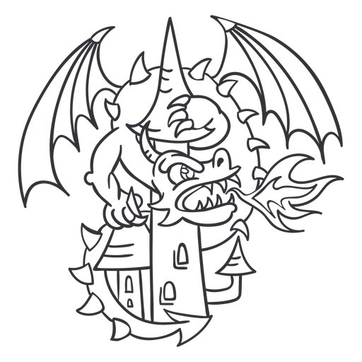 Evil dragon attacking castle outline dragon Transparent PNG