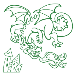 Evil dragon flying fire green outline
