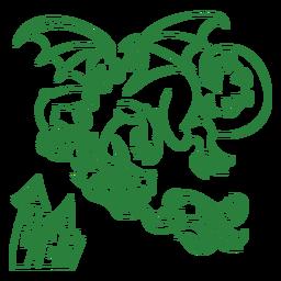 Malvado dragón volando fuego verde contorno