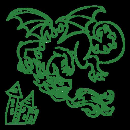 Malvado dragón volando fuego verde contorno Transparent PNG