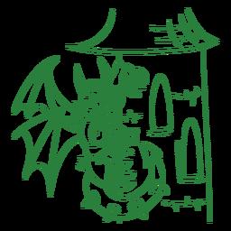 Dragón malvado donde se posan torre verde contorno