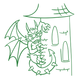 Evil dragon perching tower green outline