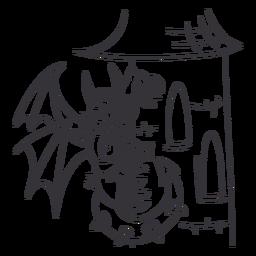 Dragón malvado donde se posan torre dragón de contorno