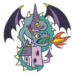Malvado dragón verde atacando castillo más oscuro