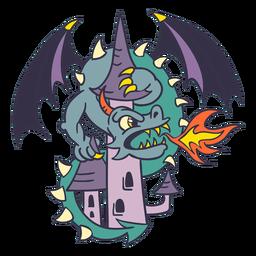 Malvado dragón verde atacando el castillo más oscuro
