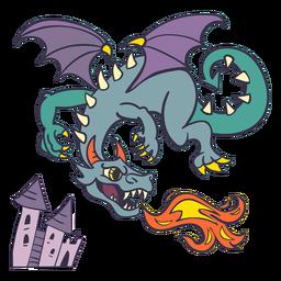 Malvado dragón verde volando fuego más oscuro