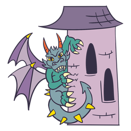 Evil green dragon perching tower dragon