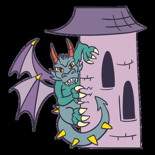 Dragón verde malvado dragón torre encaramado